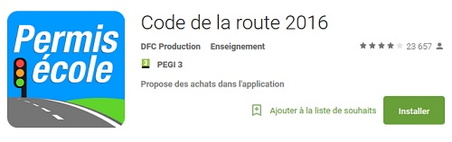 appli code la route 2016
